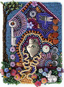 improvisational bead embroidery, detail, by Robin Atkins, bead artist
