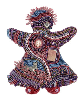 Decade Doll 6, bead embroidery, by Robin Atkins, bead artist