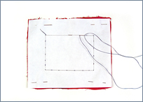 interleaving paper used to stabilize fabric for bead embroidery