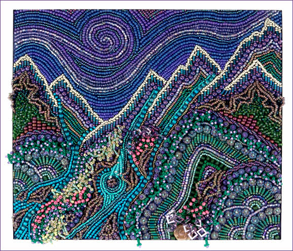 Mountains & Streams, bead embroidery, large picture, by Robin Atkins, bead artist