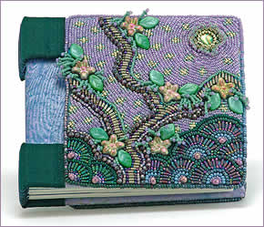 Blessings, hand-bound book with bead embroidered covers by Robin Atkins, bead artist
