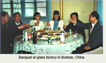Banquet at bead factory in Boshan, China, honoring Robin Atkins, bead artist