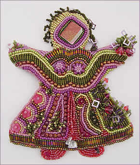Doll 2, one in a series of beaded dolls by Robin Atkins, bead artist