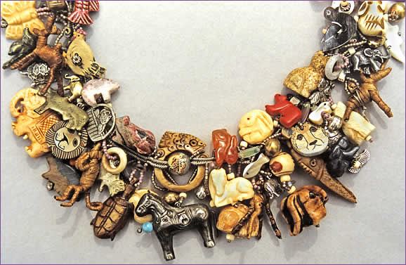 Critters, large picture, detail of woven treasure necklace by Robin Atkins, bead artist