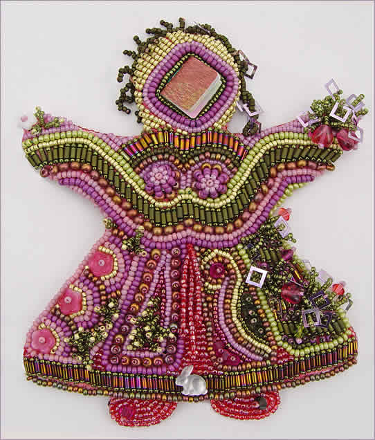 Doll 2, bead embroidered doll, large picture, by Robin Atkins, bead artist