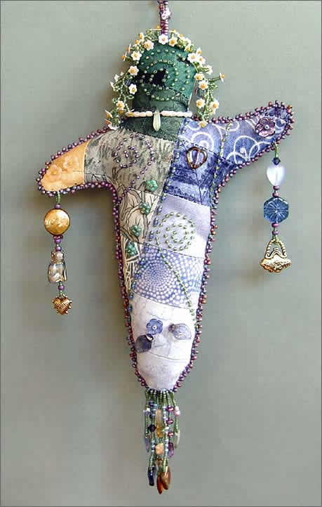 Quilt Dolly, large picture, a beaded spirit doll by Robin Atkins, bead artist