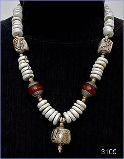 conch shell necklace by Robin Atkins, bead artist.