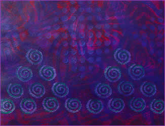 Painted decorative paper, Blue Spirals, by Robin Atkins, bead artist