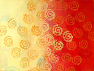 Painted decorative paper, Yellow and Gold Spirals, by Robin Atkins, bead artist