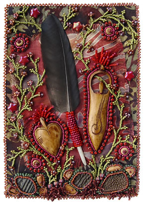 Respect, Bead Journal Project, bead embroidery, by Robin Atkins, bead artist