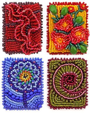 Technique samples, bead embroidery, by Robin Atkins, bead artist