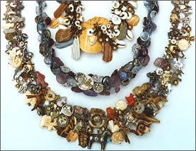 Three Treasure Necklaces by Robin Atkins, bead artist
